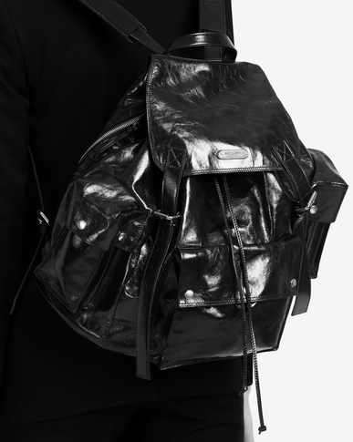 SAINT LAURENT Noe Woman NOE SAINT LAURENT backpack in black polished vintage leather y_V4