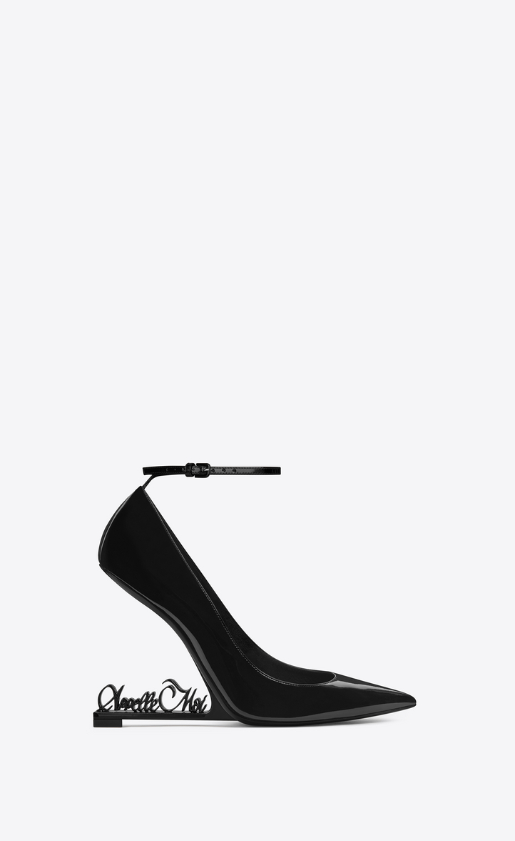 saint laurent opyum 105 pump in black patent leather and appelle