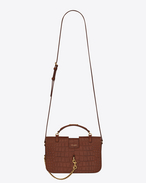 SAINT LAURENT Charlotte D Medium CHARLOTTE messenger bag in crocodile embossed matte leather in cognac f