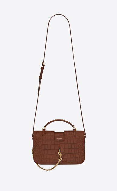 SAINT LAURENT Charlotte D Medium CHARLOTTE messenger bag in crocodile embossed matte leather in cognac a_V4