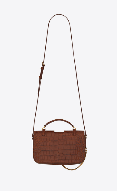 SAINT LAURENT Charlotte D Medium CHARLOTTE messenger bag in crocodile embossed matte leather in cognac b_V4