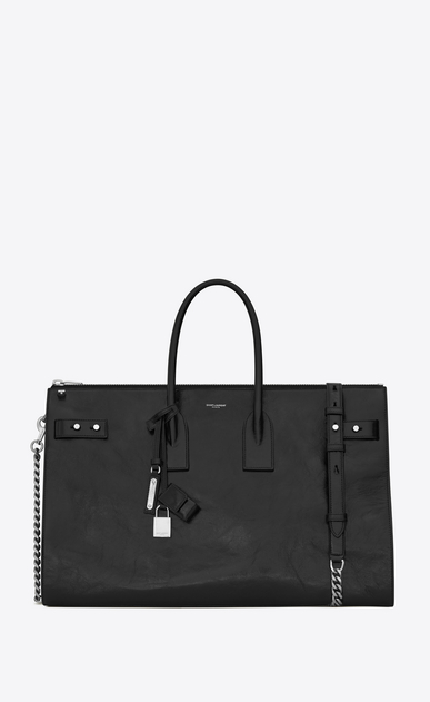 SAINT LAURENT Sac De Jour Supple Woman sac de jour souple 36h duffle bag in black moroder leather a_V4