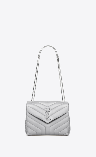 "SAINT LAURENT Monogramme Loulou Woman Small LOULOU chain bag in platinum ""Y"" matelassé lamé leather a_V4"
