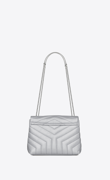 "SAINT LAURENT Monogramme Loulou Woman Small LOULOU chain bag in platinum ""Y"" matelassé lamé leather b_V4"