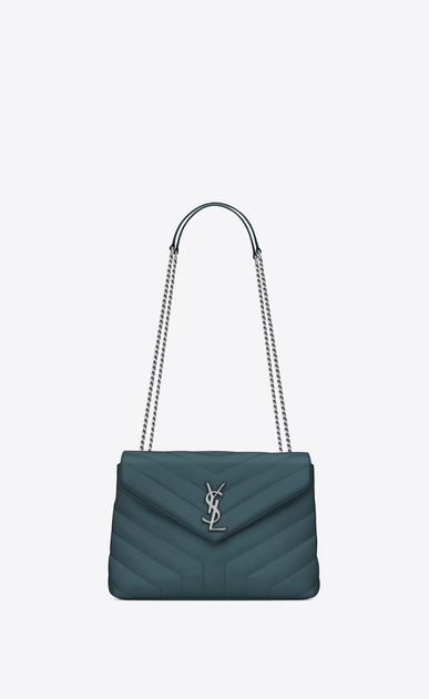 "SAINT LAURENT Monogramme Loulou Woman Small LOULOU chain bag in green ""Y"" matelassé leather a_V4"