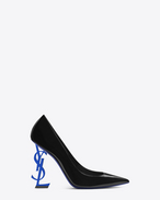 SAINT LAURENT YSL heels D OPYUM 110 pump in black patent leather and blue metal f
