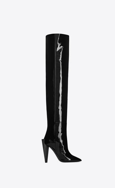 SAINT LAURENT Heel Booties D JODIE 105 boot in black patent leather v4