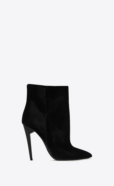 SAINT LAURENT Freja Femme Bottine FREJA 105 en velours noir a_V4
