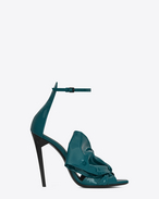 SAINT LAURENT Freja D FREJA 105 sandal with bow in duck blue patent leather f