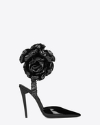 SAINT LAURENT Freja D FREJA 105 pump with flower in black patent leather f