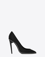 SAINT LAURENT Freja D FREJA 105 pump in black satin and white crystals f
