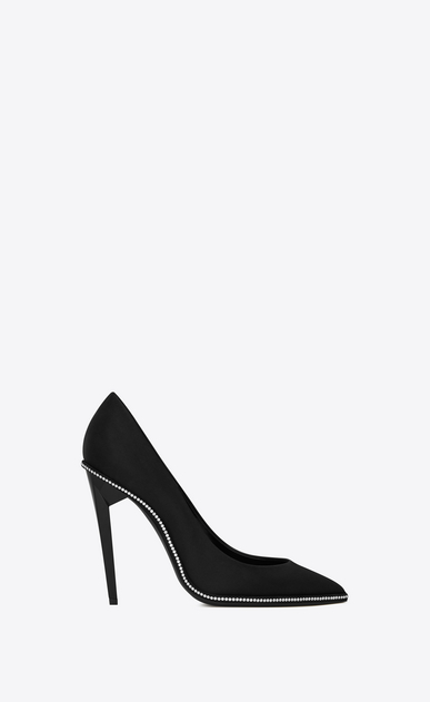 SAINT LAURENT Freja Woman FREJA 105 pump in black satin and white crystals a_V4