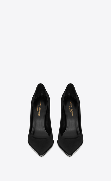 SAINT LAURENT Freja D FREJA 105 pump in black satin and white crystals b_V4
