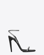 SAINT LAURENT Freja D FREJA 105 sandal in black satin and white crystals f