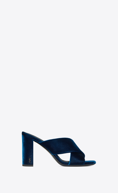SAINT LAURENT Loulou D LOULOU 95 slide sandal with intertwining straps in ocean blue velvet a_V4