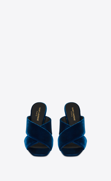 SAINT LAURENT Loulou D LOULOU 95 slide sandal with intertwining straps in ocean blue velvet b_V4