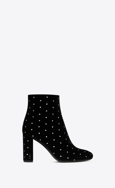 SAINT LAURENT Loulou Woman LOULOU 95 zip ankle boot in black velvet and white crystals a_V4