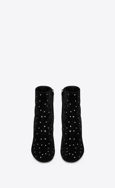 SAINT LAURENT Loulou Woman LOULOU 95 zip ankle boot in black velvet and white crystals b_V4