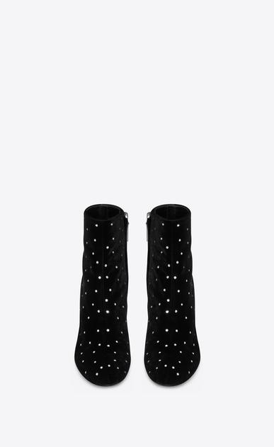 SAINT LAURENT Loulou Donna Stivaletti LOULOU 95 con zip neri in velluto e cristallo bianco b_V4