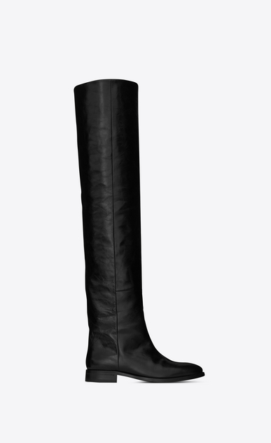 SAINT LAURENT Matt D MATT 25 thigh-high boot in black moroder leather a_V4