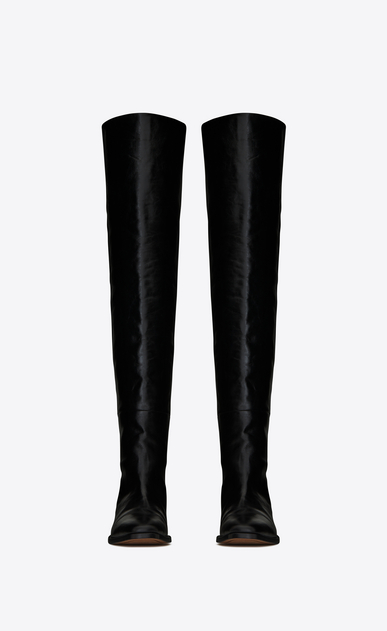 SAINT LAURENT Matt D MATT 25 thigh-high boot in black moroder leather b_V4