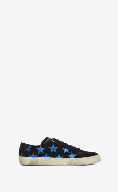 SAINT LAURENT Trainers D COURT CLASSIC SL/06 CALIFORNIA sneaker in black and blue metallic leather a_V4