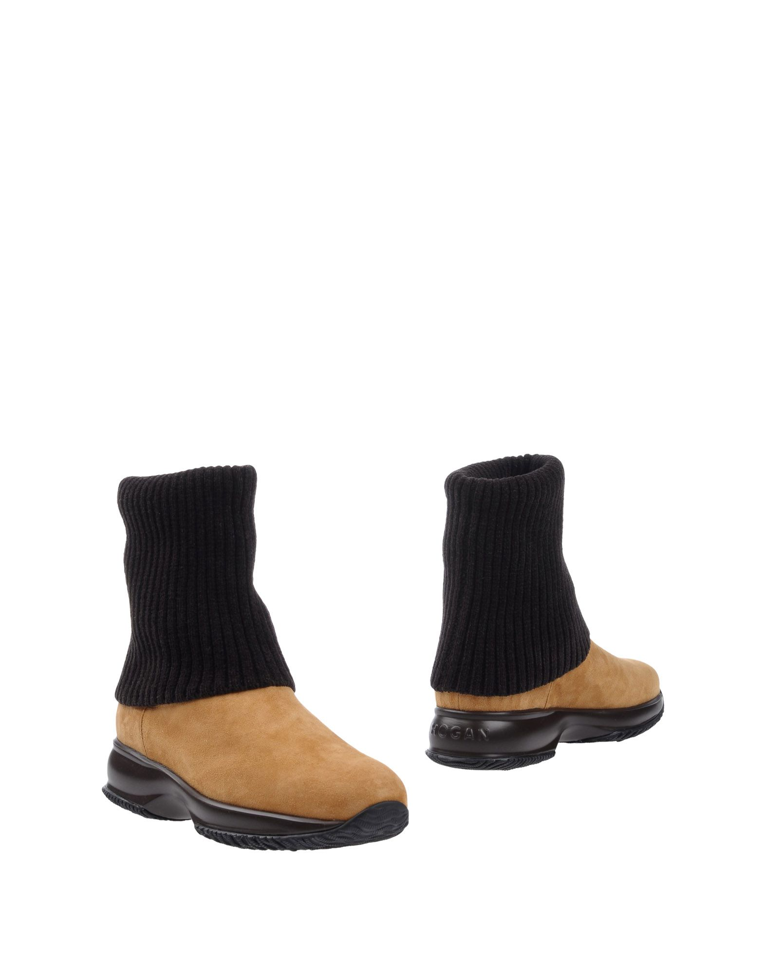 HOGAN Boots. sueded effect, knitted, leather, no appliqués, two-tone pattern, elasticized gores, round toeline, square heel, leather lining, rubber cleated sole, contains non-textile parts of animal origin. Soft Leather, Textile fibers