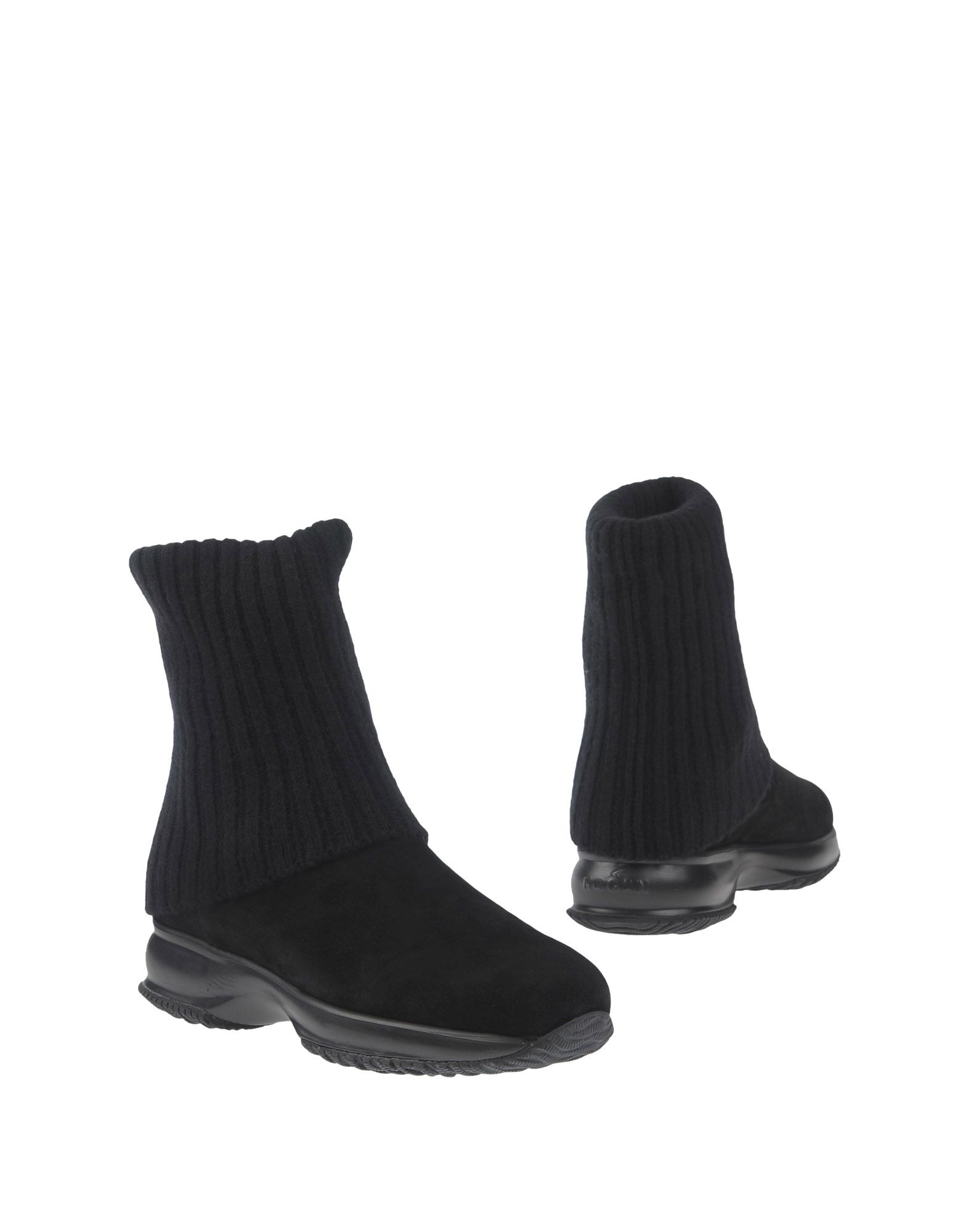 HOGAN Ankle boots. knitted, sueded effect, no appliqués, solid color, round toeline, wedge heel, leather lining, rubber sole, contains non-textile parts of animal origin. Textile fibers, Soft Leather