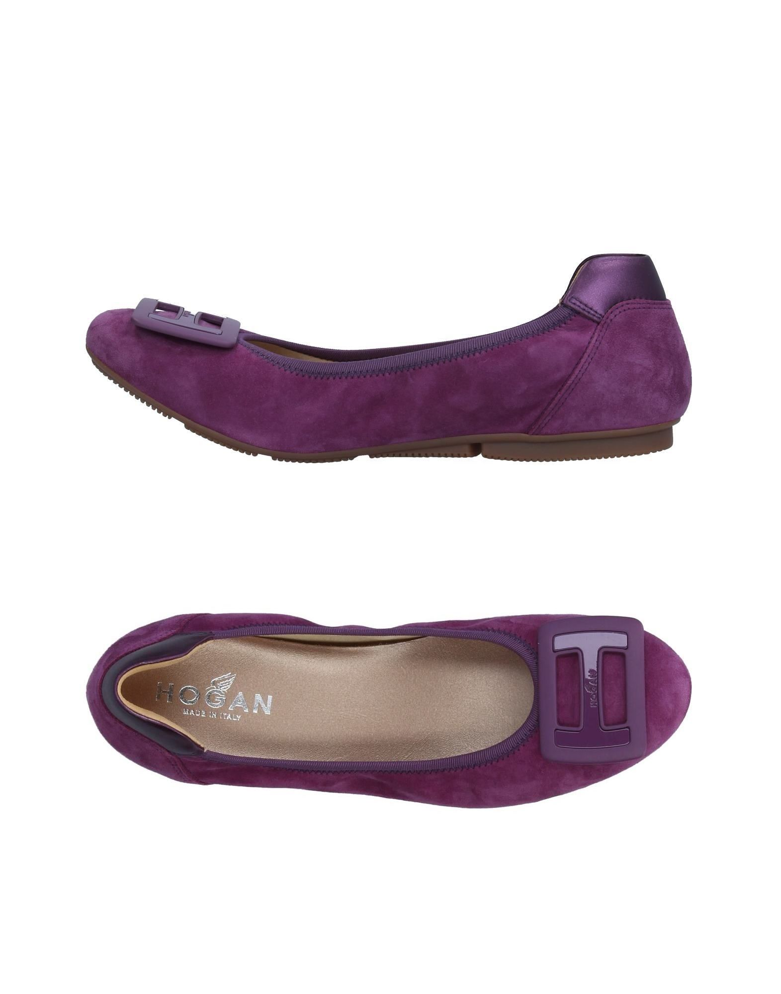 HOGAN Ballet flats. sueded effect, logo, solid color, round toeline, flat, fabric inner, rubber sole, contains non-textile parts of animal origin. Soft Leather