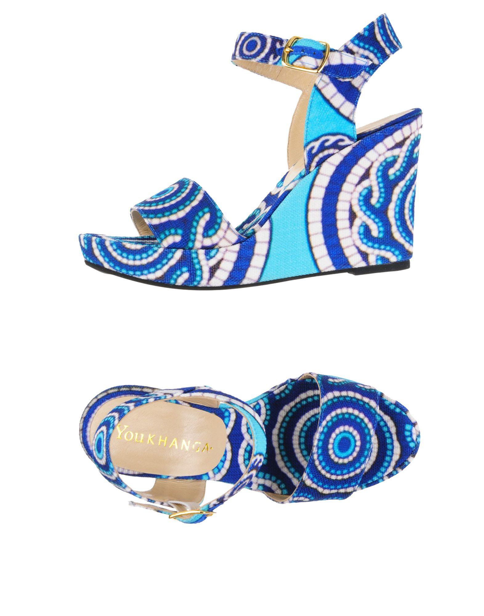 《期間限定セール中》YOU KHANGA レディース サンダル ブルー 36 紡績繊維