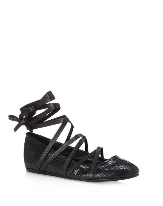 lanvin lace-up ballet flat women