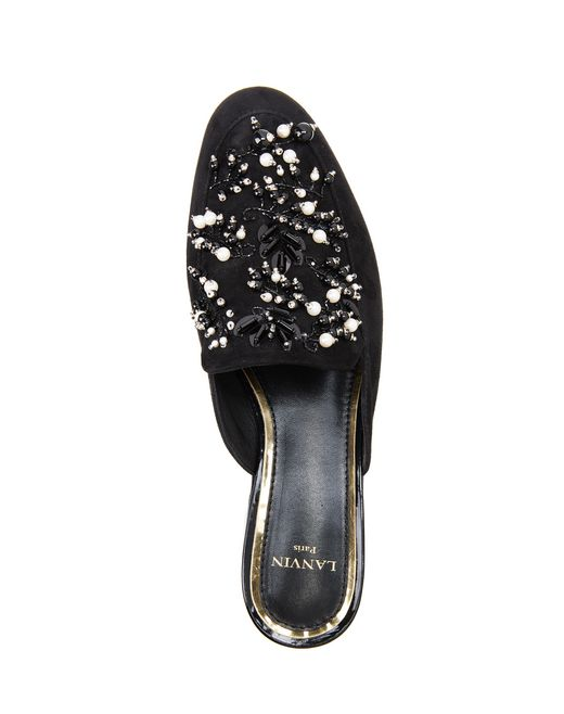 lanvin embroidered mule women