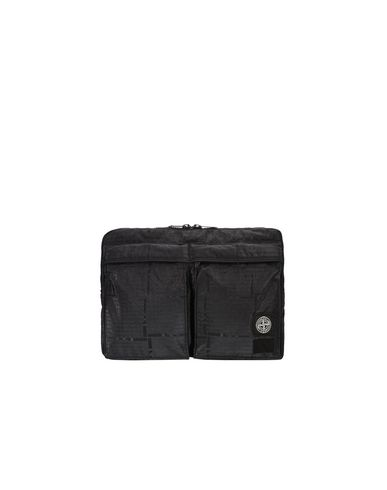 STONE ISLAND Чехол для ноутбука 915P1 STONE ISLAND/PORTER®<br>STONE ISLAND HOUSE CHECK JACQUARD ON NYLON METAL BLACK WATRO_GARMENT DYED