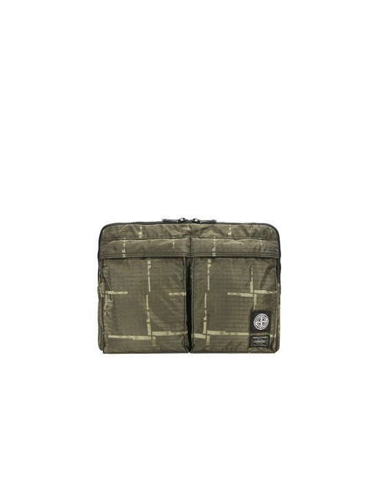 Laptop case 915P1 STONE ISLAND/PORTER®<br>STONE ISLAND HOUSE CHECK JACQUARD ON NYLON METAL BLACK WATRO_GARMENT DYED STONE ISLAND - 0