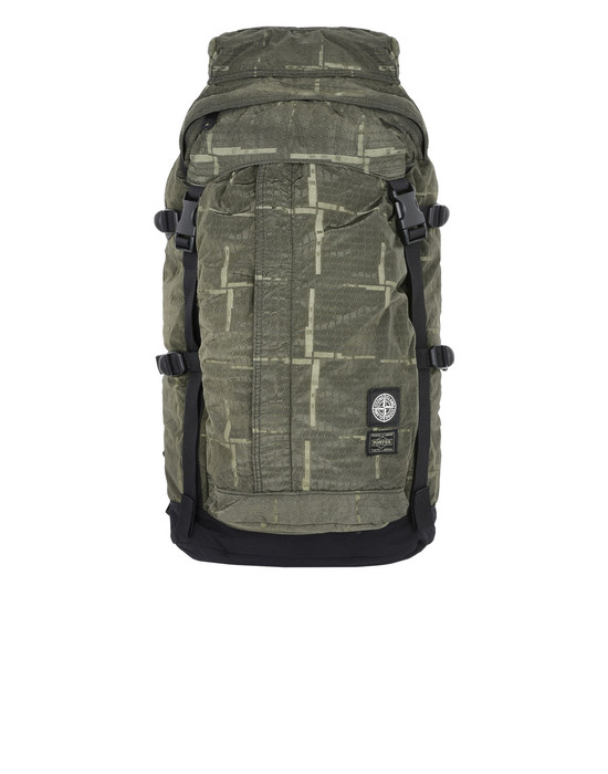 Backpack 914P1 STONE ISLAND/PORTER®<br>STONE ISLAND HOUSE CHECK JACQUARD ON NYLON METAL BLACK WATRO_GARMENT DYED STONE ISLAND - 0