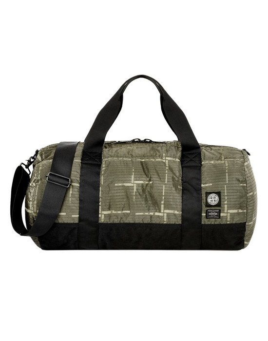 STONE ISLAND Travel & duffel bag 913P1 STONE ISLAND/PORTER®<br>STONE ISLAND HOUSE CHECK JACQUARD ON NYLON METAL BLACK WATRO_GARMENT DYED