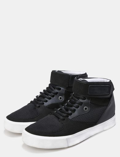 MESH AND FAUX SUEDE HIGH-TOP SNEAKERS