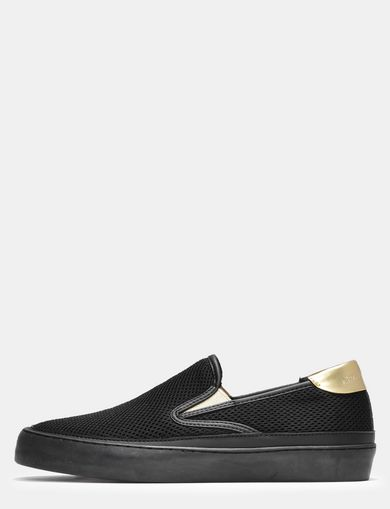 METALLIC ACCENT MESH SLIP-ON SNEAKERS