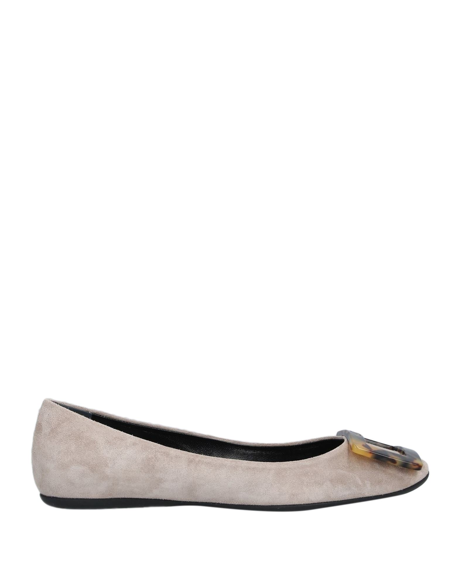 ROGER VIVIER Ballet flats. sueded effect, logo, contrasting applications, solid color, flat, round toeline, leather lining, rubber cleated sole, contains non-textile parts of animal origin. Soft Leather