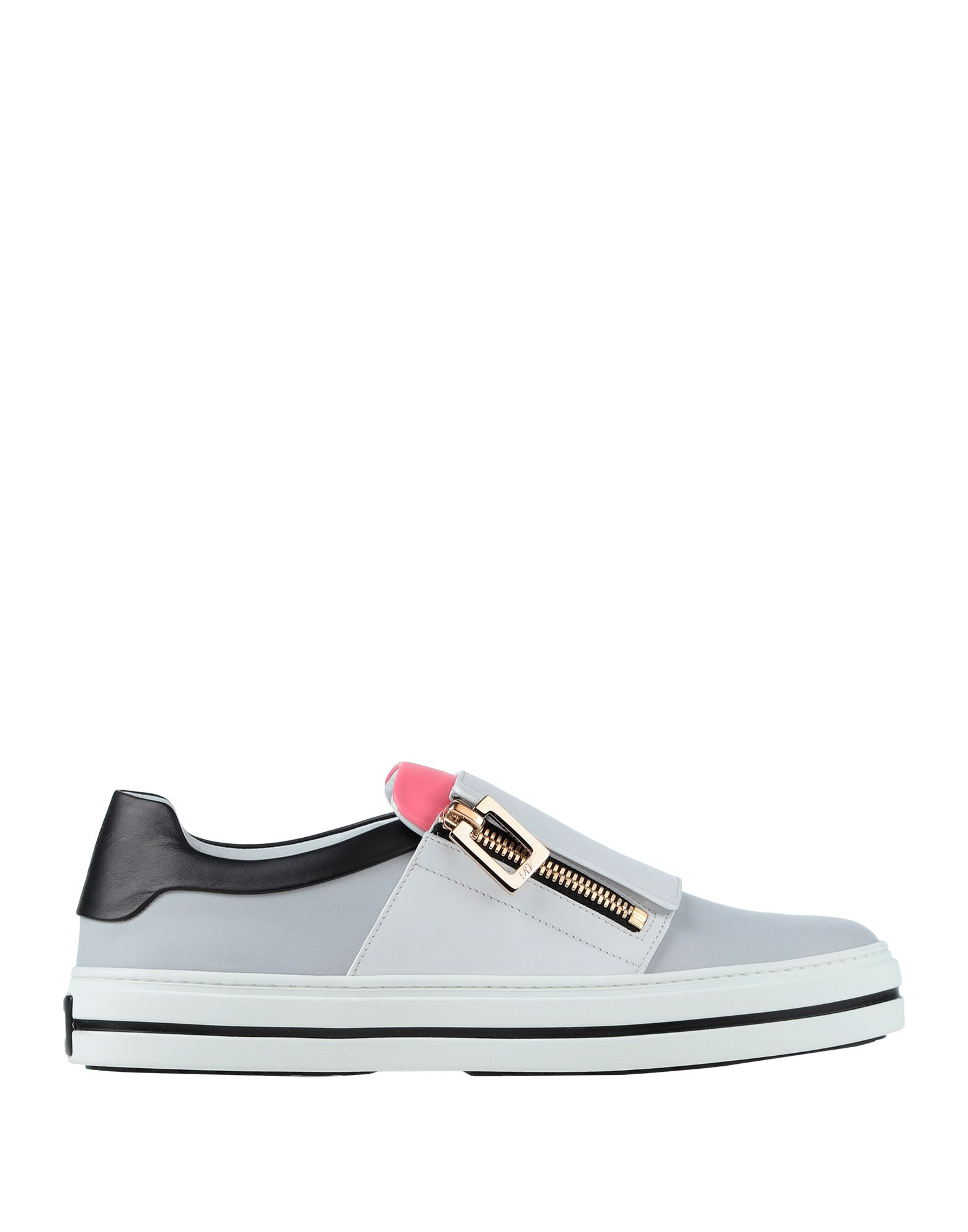 ROGER VIVIER Sneakers. leather, metal applications, solid color, elasticized gores, round toeline, flat, leather lining, rubber sole, contains non-textile parts of animal origin. Soft Leather