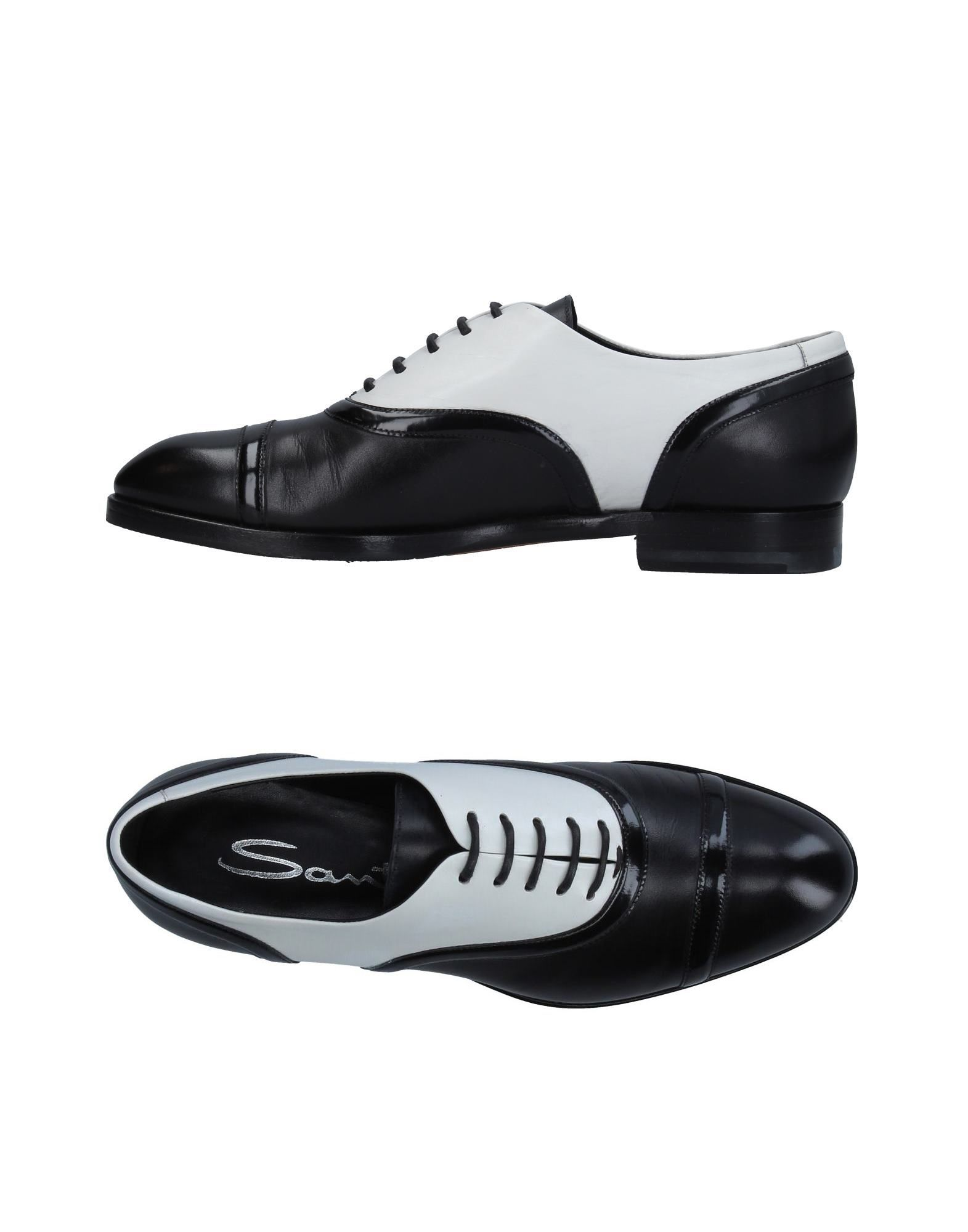 SANTONI Lace-up shoes. No appliqués Two-tone Round toeline Flat Leather lining Leather/rubber sole Contains non-textile parts of animal origin Large sized. Soft Leather