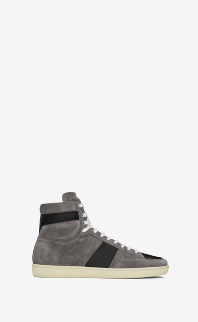 SAINT LAURENT SL/10H Man signature court sl/10h sneaker in clay grey suede and black leather a_V4