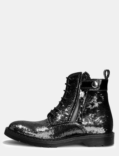 ALLOVER SEQUIN COMBAT BOOTS