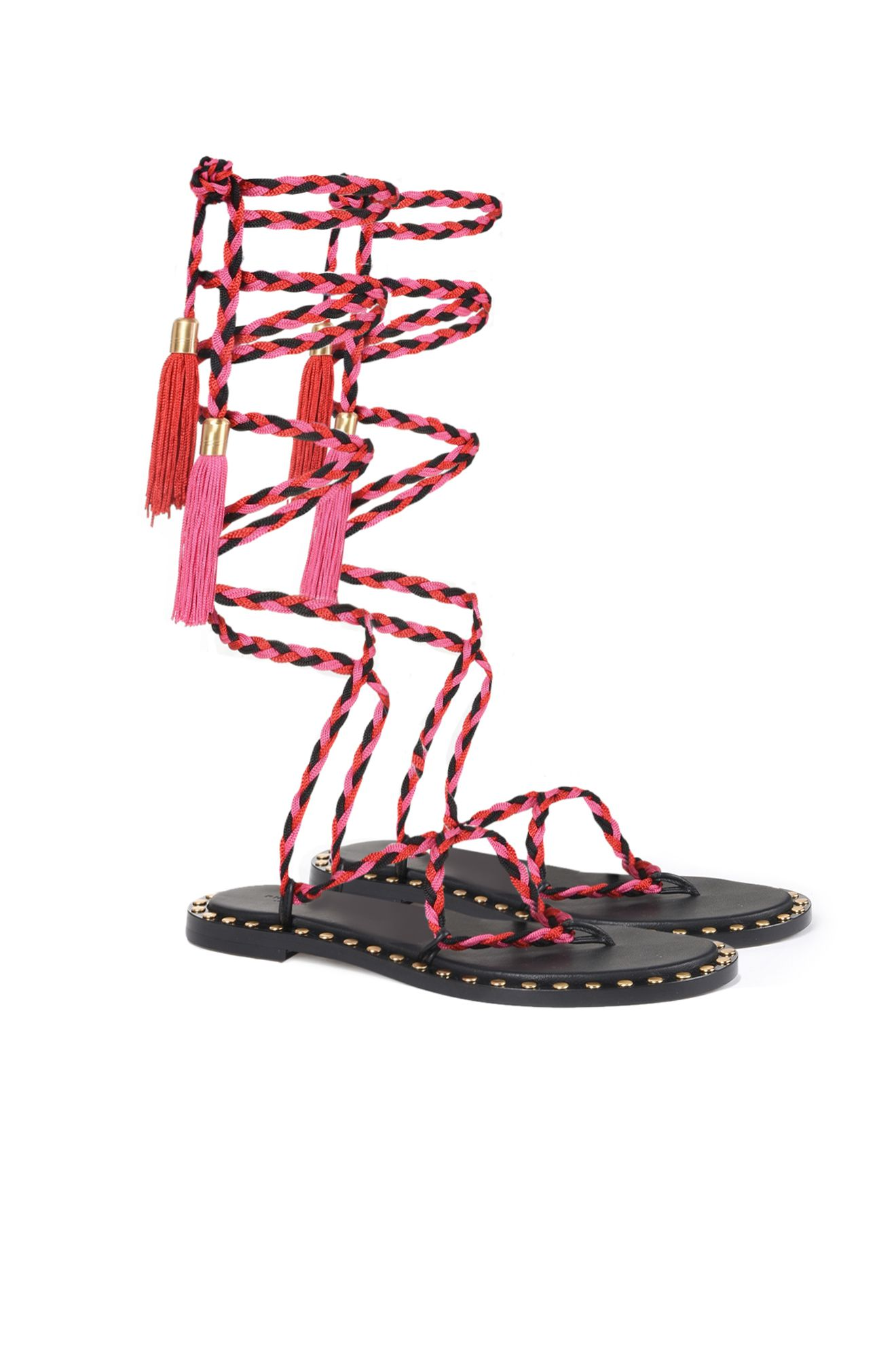 Fuchsia lace-up sandals