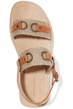 ISABEL MARANT ÉTOILE Jess paneled leather and woven sandals