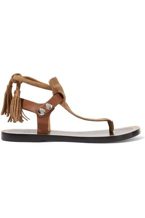 ISABEL MARANT Jemma leather-trimmed tasseled suede sandals