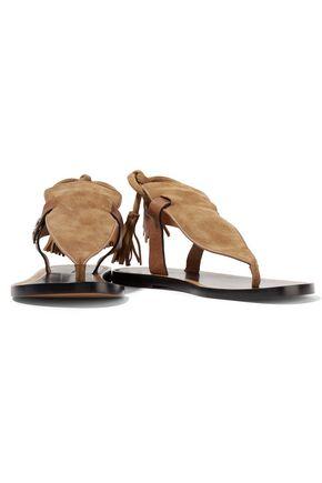 ISABEL MARANT Jemma leather-trimmed tasseled suede sandals