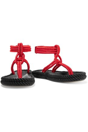ISABEL MARANT Lesley two-tone leather-trimmed  braided cord sandals