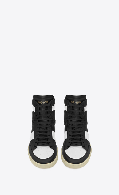 SAINT LAURENT SL/10H U signature court classic sl/10h high top sneaker in black and optic white leather b_V4