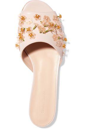 SIMONE ROCHA Embellished glossed-leather slides
